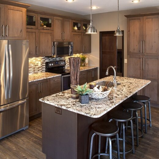 Light brown cabinets in kitchen