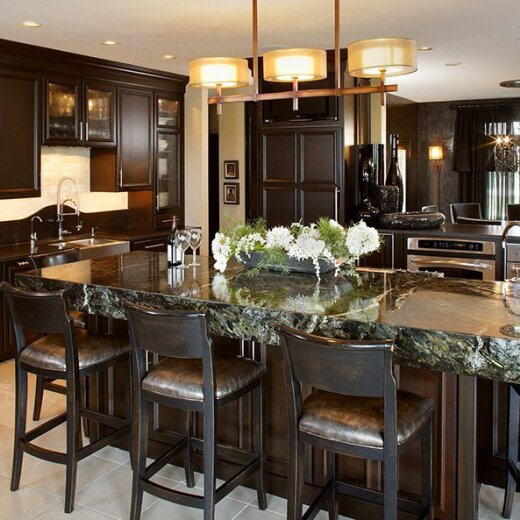 Black cabinets in the kitchen dinning room