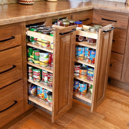 Cabinets in the kitchen with pulling pantry