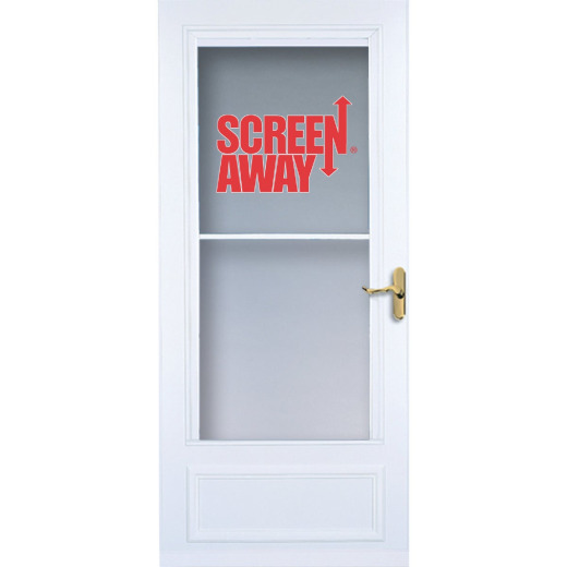 Larson Screenaway Lifestyle 36 In. W x 80 In. H x 1 In. Thick White Mid View DuraTech Storm Door