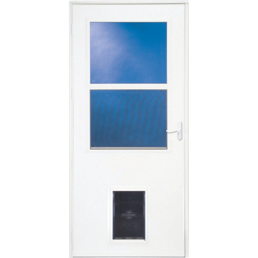 Larson Life-Core DuraTech 36 In. W x 81 In. H x 1 In. Thick White Self-Storing Storm Door with Pet Door