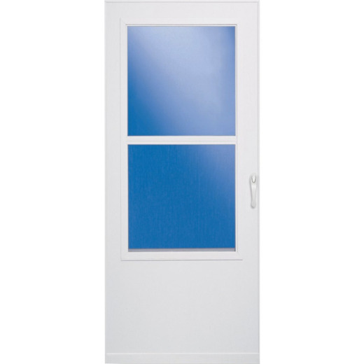 Larson Value-Core 32 In. W x 75 In. H x 1 In. Thick White Self-Storing Mobile Home DuraTech Storm Door