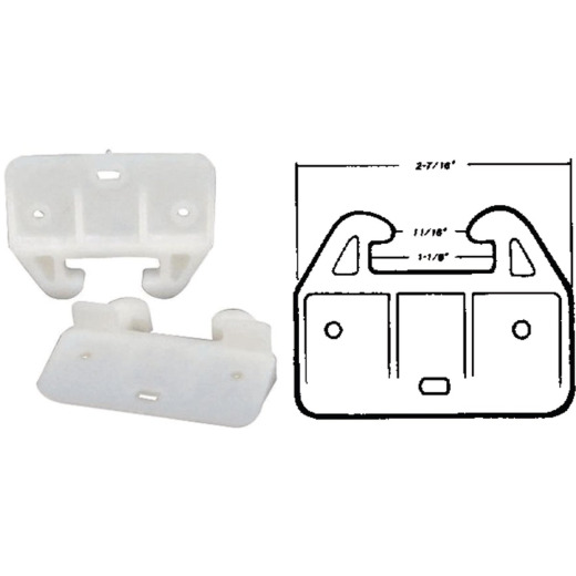 "United States Hardware 2-7/16"" Rear Plastic White Track Guide (2-Pack)"
