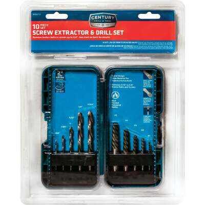 Century Drill & Tool High Speed Steel & Spiral Screw Extractor (10-Piece)