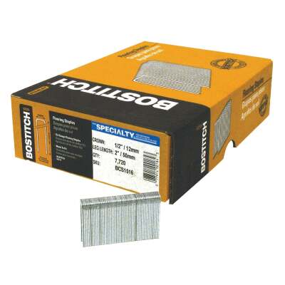 Bostitch 15-1/2-Gauge Galvanized Hardwood Collated Flooring Staple, 1/2 In. x 2 In. (7700 Ct.)
