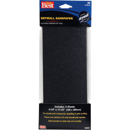 Do it Best 80 Grit 4-1/4 In. x 11-1/4 In. Drywall Sandpaper (5-Pack)