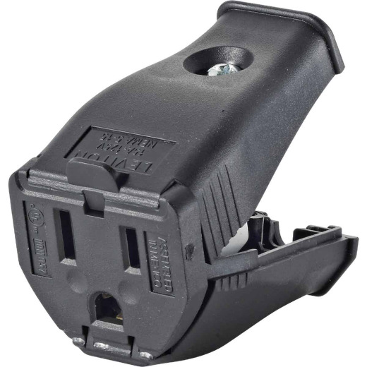 Leviton 15A 125V 3-Wire 2-Pole Clamp Tight Cord Connector, Black