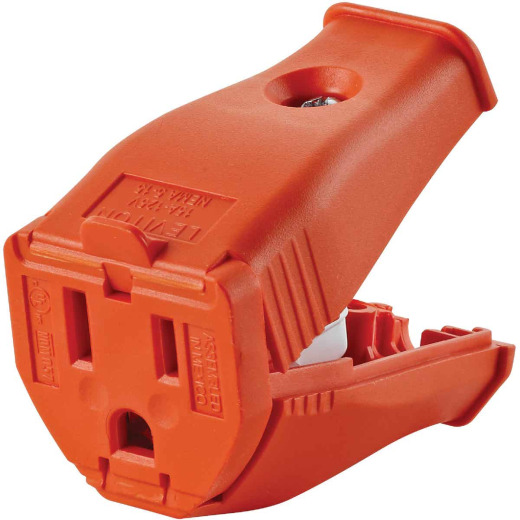 Leviton 15A 125V 3-Wire 2-Pole Clamp Tight Cord Connector, Orange