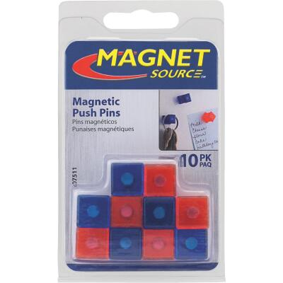 Master Magnetics 5/8 In. H. Red/Blue Plastic Magnetic Note Holder Push Pins (10-Pack)