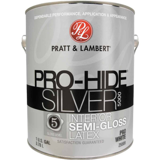Pratt & Lambert Pro-Hide Silver 5000 Latex Semi-Gloss Interior Wall Paint, Pro White, 1 Gal.