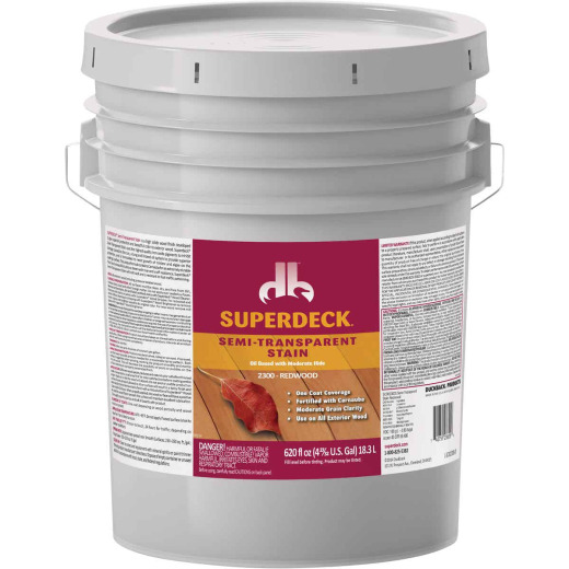 Duckback SUPERDECK Semi-Transparent Exterior Stain, Redwood, 5 Gal.