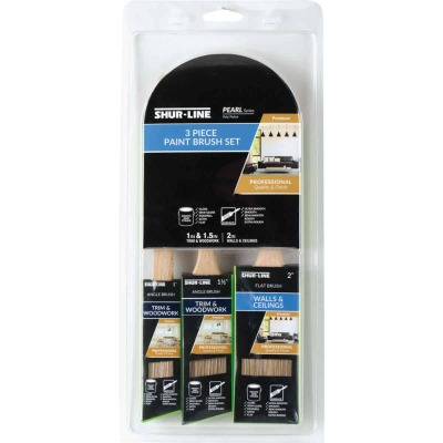 Shur-Line Shur-Flow 1 In. Angle, 1-1/2 In. Angle, 2 In. Flat Paint + Primer Non-Stick Polyester Paint Brush Set (3-Pack)
