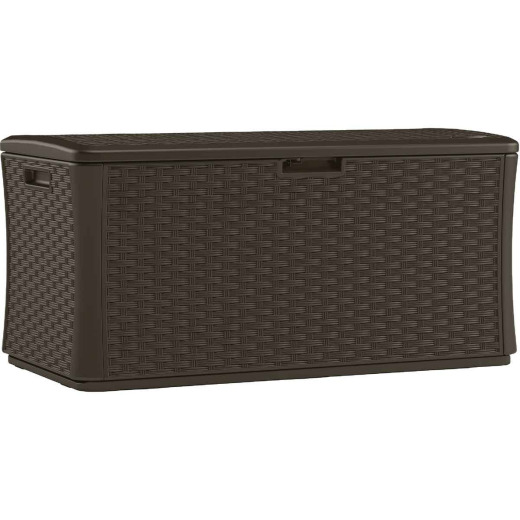 Suncast 134 Gal. Resin Wicker Brown Lockable Deck Box