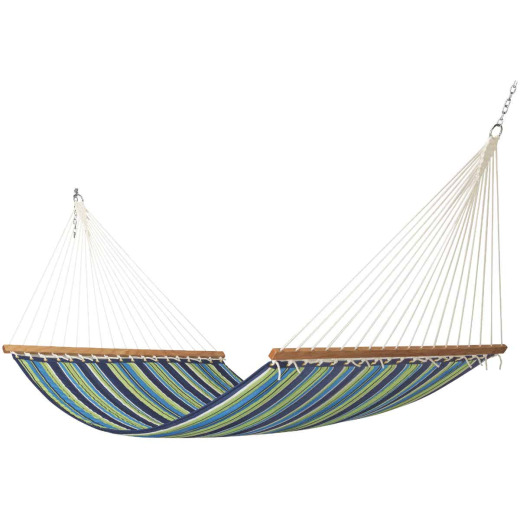 Castaway Blue & Green Striped Polyester Quilted Hammock