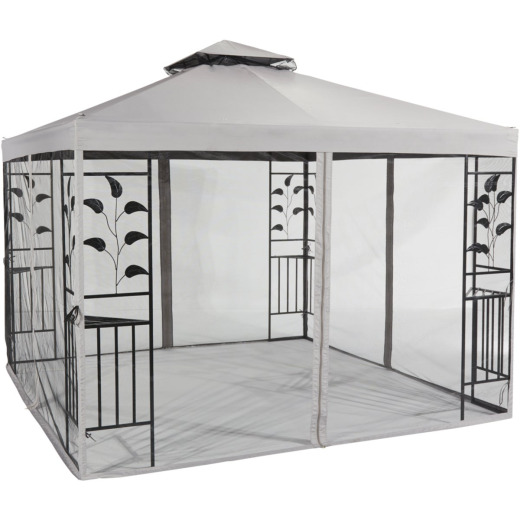 Outdoor Expressions 12 Ft. x 12 Ft. Gray & Black Steel Gazebo with Sides